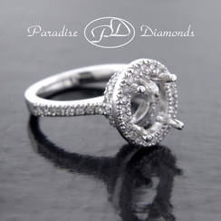 Style PDW512 Round Halo Pave Semi Mount With 0.65CT Pave Accent Diamonds 14K White Gold