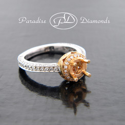 Style PDX502ROSE Round Halo Pave Center Semi Mount With 0.76CT  Pave Set  Accent Diamonds 18K White And Rose Gold