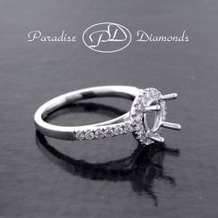 Style PDX579  Round Halo Single Shank Diamond Semi Mount Engagement Ring 0.40CT Accent Diamonds  18K White Gold