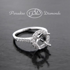 Style PDX581 Round Halo Center Single Shank  Semi Mount 0.60CT Accent Diamonds 18K White Gold