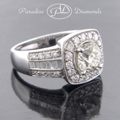 Style PDT567 - 2.39ct. Cushion Halo Diamond Engagement Ring, Baguette and Round cuts, 18K White Gold
