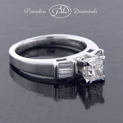 Style PDX529 - 1.00cttw. Classic Princess cut and Baguette Diamond Engagement Ring, channel setting in 14K White Gold