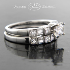 Style PDX702 - 1.50cttw. Classic Round Diamond Engagement Ring, Princess and Baguette cut side diamonds, with Matching band, in 14K White Gold