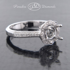 Style PDX588 - 0.35cttw. Wavy Round Halo Diamond Semi Mount, pave setting in 18K White Gold