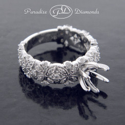 Style PDJ5114 - 0.60ct. Modern Diamond Semi Mount with Leaf Pattern, bead setting in 18K White Gold