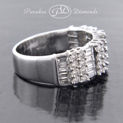 Style PDE121 - 1.91ct Brilliant Rounds and Baguettes Prong & Channel Set in Fine 18K White Gold.