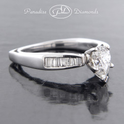 Style PDX522 - Modern Pear Shape Cathedral Engagement Ring with Euro Shank and Baguette Diamonds in 14K White Gold