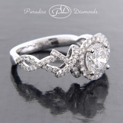 Style PDJ5096 - 1.60cttw. Halo XO Engagement Ring in 18K White Gold