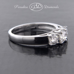 Style PDSPO1340 - 1.00cttw. Classic Three Stone Diamond Engagement Ring with criss cross prongs, 14K White Gold