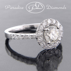 Style PDX582 - 1.65cttw. Round Halo Diamond Engagement Ring, U-pave setting, 18K White Gold
