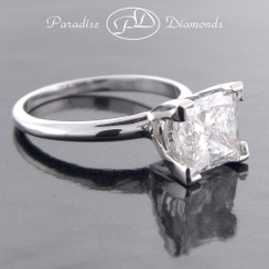 Style PC-Soli - 3.01ct Classic Princess Cut Diamond Solitaire Engagement Ring, 14K White Gold