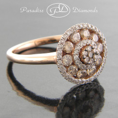 Style PDX105 - 0.85ct. Round Halo Cluster Lady's Diamond Ring, Brown Cognac Diamonds, 14K Rose Gold