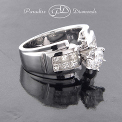 Style PDS516 - 2.00ct. Modern Invisible Set Diamond Engagement Ring, 14K White Gold