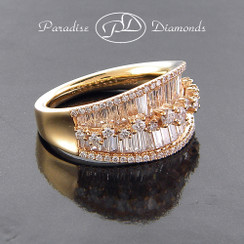 Style PDE1007 - 2.30ct. Lady's Diamond Cocktail Ring, Baguette and Round Diamonds, 18K Rose Gold