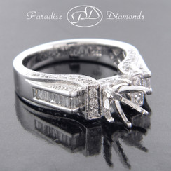 Style PDT564 - 1.00ct. Cathedral Diamond Engagement Ring with Round and Baguette Diamonds, 18K White Gold