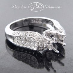 Style PDT5003 - 1.50ct. Cathedral Micro Pave Diamond Engagement Ring, 18K White Gold