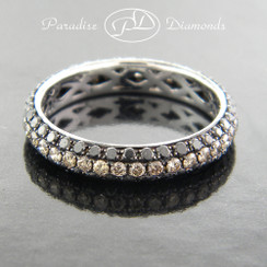 Style PDN115 - 1.50ct. Black and Cognac Diamond Micro Pave Eternity Band, 18K White Gold