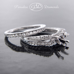 Style PDJ710 - 0.85ct. Diamond Engagement Ring semi mount and Matching Band, shared prong setting, 18K White Gold