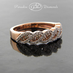 Style PDX104 - 0.65ct. Lady's White and Cognac Diamond Band, micro pavé setting, 14K Rose Gold