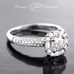 Style PDJ5155 0.49CT Asscher Center Diamond 0.70 Round Accent Diamonds 18K White Gold