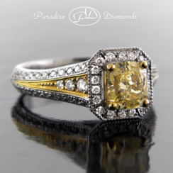 Style PDK536 1.01CT Fancy Yellow Center Diamond 0.40CT Accent Diamonds 18K White Yellow Gold