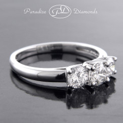 Style PDSPO1341 0.98CT Three Stone Ring 14K White Gold