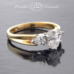Style PDX560 - 1.00CTTW Three Stone Round Center Pear Shaped Side Diamonds  14K Yellow White Gold