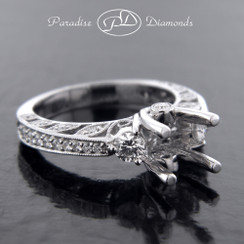 Style PDE5003 Three-Stone Four Prong Center Semi Mount With Round Pave Accent Diamonds 18K White Gold