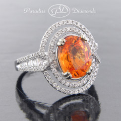 Style PDE5062 - 4.05ct Mandarin Garnet set in Fine 18K White Gold  with 1.05ct Accent Diamonds