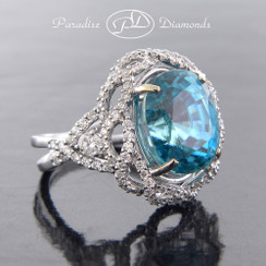 PDJ5044 - 10.62ct Blue Zircon with 1.05ct Accent Diamonds Set in Fine 18K White Gold