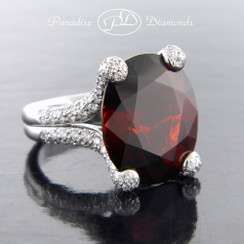 Style PDO125 - 24.63ct Pigeon Blood Garnet set in 18K White Gold With 1.68ct Accent Diamonds