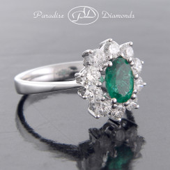 Style PDE157 - 0.88ct Oval Emerald Set in Fine 18K White Gold with 0.90ct Halo Diamonds