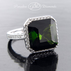 Style  PDO141 - 9.17ct Green tourmaline Set in Fine 18K white Gold with 0.50ct Accent Halo Diamonds.