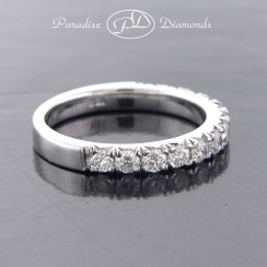 Style PDK119 - 1.00ct French Pave Set Round Brilliant Diamonds in 18K White Gold.