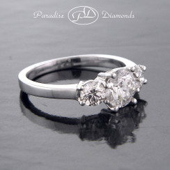 Style PDR131  0.98CT Center / 0.54CT Sides Three Stone Round Diamond Engagement Ring 14K White Gold