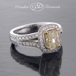 Style PDK538 1.04CT Radiant Halo Fancy Yellow Center Diamond Pave Accent Diamond  18K White Yellow Gold