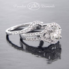 Style PDJ720 1.08CT Center Round Halo Diamond Split Shank 0.95CT Accent Diamonds 14K White Gold