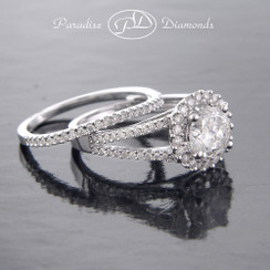 Style PDJ718 1.00CT Center Round Halo Diamond Split Shank 0.50CT Accent Diamonds 14K White Gold