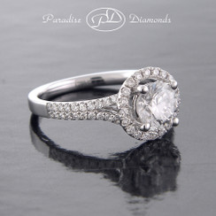 Style PDX580 1.00CT Round Halo Center Diamond EGL USA with 0.40CT Round Accent Diamonds 18K White Gold