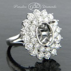 Style PDE570 3.80CT Double Oval Halo Diamond Semi Mount Ring, Single Solid Shank 18K White Gold