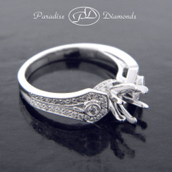 Style PDJ5091 Six Prong Center Semi Mount With 0.40CT Round Accent Diamonds 18K White Gold