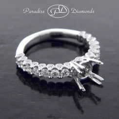 Style PDJ5113 Four Double Prong Diamond Semi Mount Ring, Shared Prong Accent With Profile Diamonds 18K White Gold