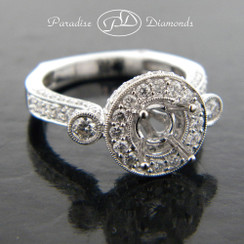Style PDJ5141 Round Halo Pave Center Semi Mount  With 1.30CT Pave Accent Diamonds 18K White Gold