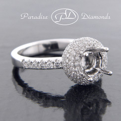 Style PDJ585 Round Halo Center Micro Pave Semi Mount With 1.15CT U-Pave Accent Diamonds 18K White Gold