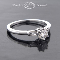 Style PDB502 0.64CT Round Center Diamond With Baguettes Accent 14K White Gold