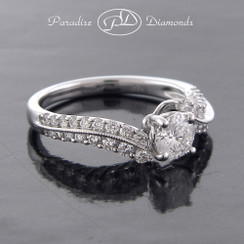 Style PDJ5160 0.50CT Round Center Diamond With 0.40CT Round Accent Diamonds 18K White Gold