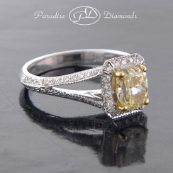 Style PDK537 1.01CT Fany Yellow Center Diamond With 0.30CT Accent Diamonds 18K White Gold