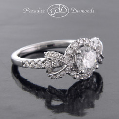 Style PDJ5117 0.80CT Round Halo Center Diamond With 0.65CT Round Accent Diamond 18K White Gold