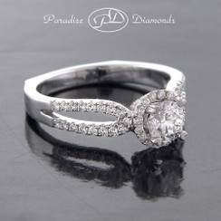 Style PDJ556 0.53CT Round Center Diamond With 0.65CT Round Accent Diamonds 18K White Gold