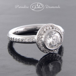 Style PDC506 Round Center Diamond With 0.45CT Diamond Accent 18K White Gold
